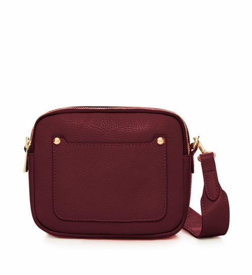 Leather Camera-style Cross Body Bag - Burgundy