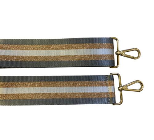 Canvas stripe Bag Strap - Grey/Gold Glitter