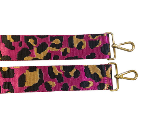 Canvas Bag Strap - Fuchsia Leopard
