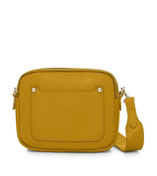 Leather Camera-style Cross Body Bag - Mustard Yellow