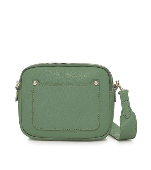 Leather Camera-style Cross Body Bag - Green