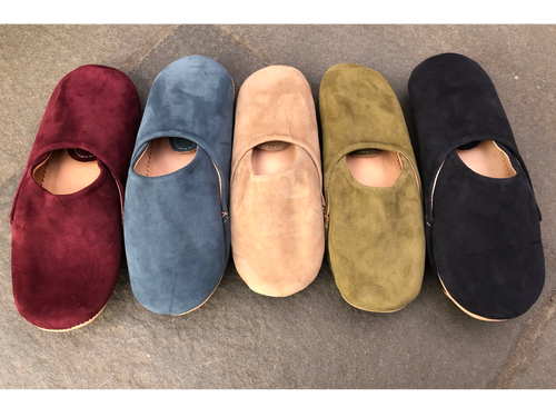 Suede Moroccan Babouche Slippers. Handmade by skilled artisans in Morocco.