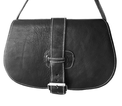 Black Contrast stitch leather Saddle Bag