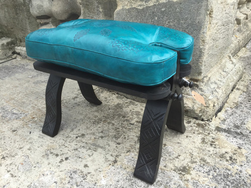 Handmade Moroccan Camel Saddle stool. Teal Blue Leather Cushion