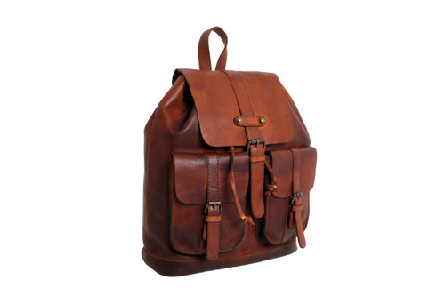 Vintage Dipped Leather Rucksack     Hand crafted 100% genuine High grade vintage dipped leather Fold over flap with buckle and press stud fastening Additional drawstring fastening Easy carry top carry leather handle Adjustable body straps Two deep frontal pockets with buckle and press stud closure One internal leather trimmed compartment Two internal leather trimmed pockets Fully lined Ashwood  heritage logo Colour: Rust Dimensions (l) 32cm (h) 32cm  (w) 13cm