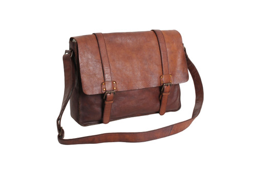 Vintage Dipped Large Leather Messenger Bag  100% genuine leather Vintage dipped leather Classic flap over press stud closure Easy carry shoulder strap Internal zip pocket External zip pocket to rear Fully lined Dimensions (l) 38cm (h) 27cm  (w) 9cm Handcrafted from vintage dipped leather to create a vintage distressed effect, this is achieved using a unique tanning process with each piece produced in raw form and then dipped and hand finished. A timeless messenger bag unique in character which looks even better with wear.