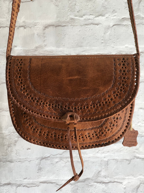 Leather Hand embossed Saddle Bag