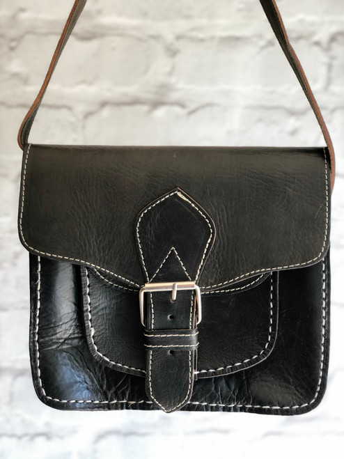 Vintage Inspired, Hand Stitched, Satchel Style Crossbody Bag