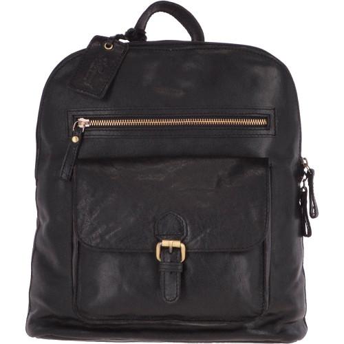 Large Ladies Leather Backpack Black