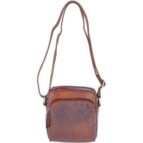 Leather Vintage  Flight Crossbody Bag Tan
