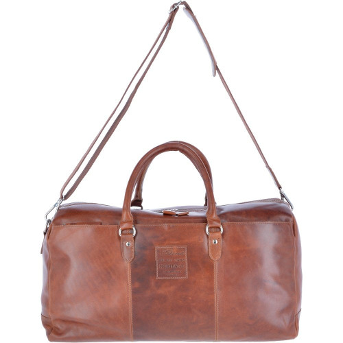 Large Luxury Oily Hunter Leather Holdall Tan