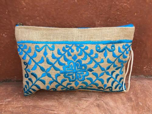 Hand Embroidered Boho Jute Clutch