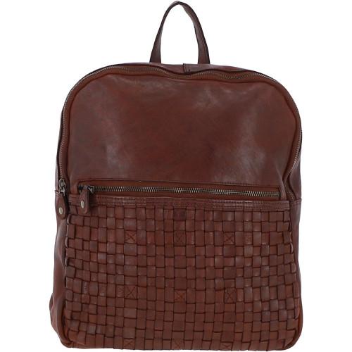 Leather Vintage Wash Backpack - Cognac