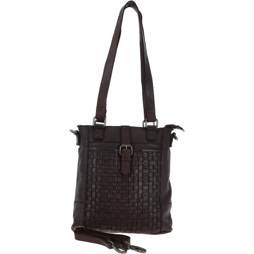 Vintage Woven Leather Bag Dark Brown
