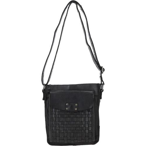 Vintage Woven Leather Crossbody Bag - Dark Grey