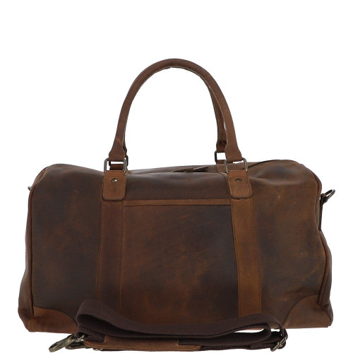 Tan Leather holdall travel bag with hand waxed finish