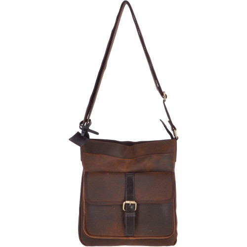 Vintage Oily Hunter Leather body Bag  - Brown
