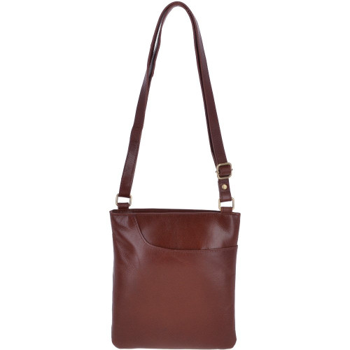 Small Leather Cross body Shoulder Bag  - Chestnut Brown
