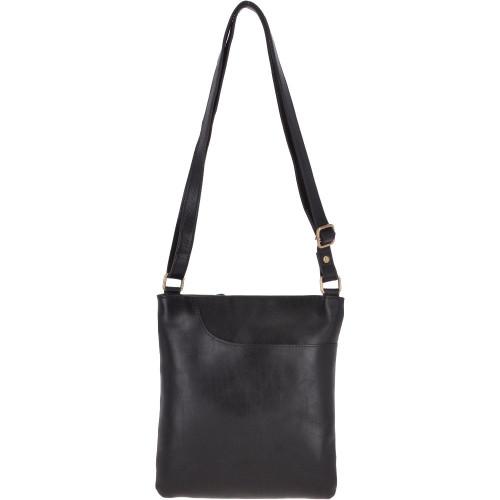 Small Leather Cross body Shoulder Bag  - Black