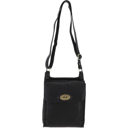 Leather Messenger Cross Body Bag, Black