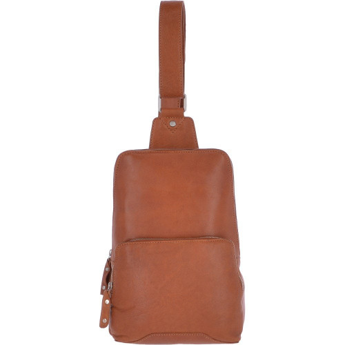 Sling Style cross body Bag in tan Leather