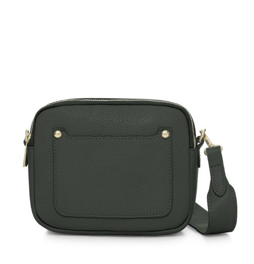 Leather Camera-style Cross Body Bag - Racing Green