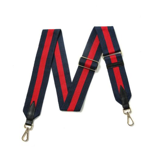 Canvas stripe Bag Strap -Navy/Red