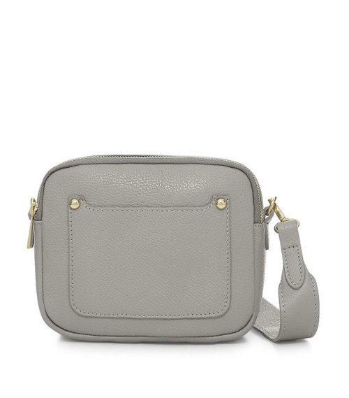 Leather Camera-style Cross Body Bag - Light Grey