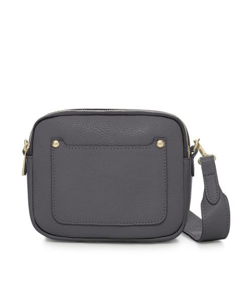 Leather Camera-style Cross Body Bag - Dark Grey