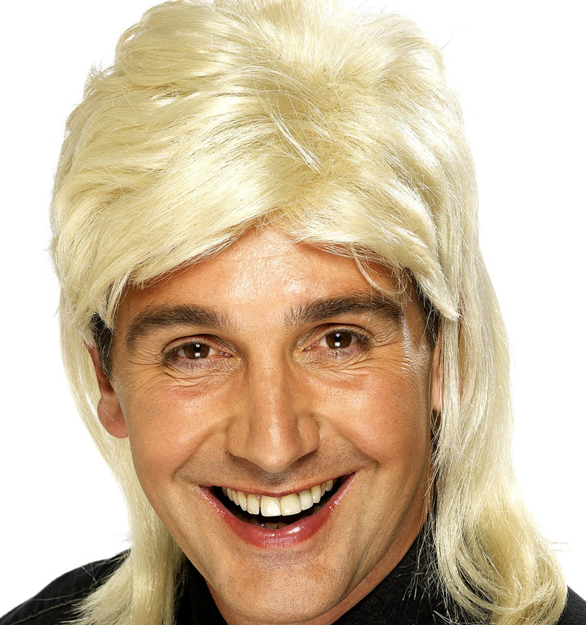 Blonde 80/'s Long Mullet Wig Adult Womens Smiffys Fancy Dress Costume New