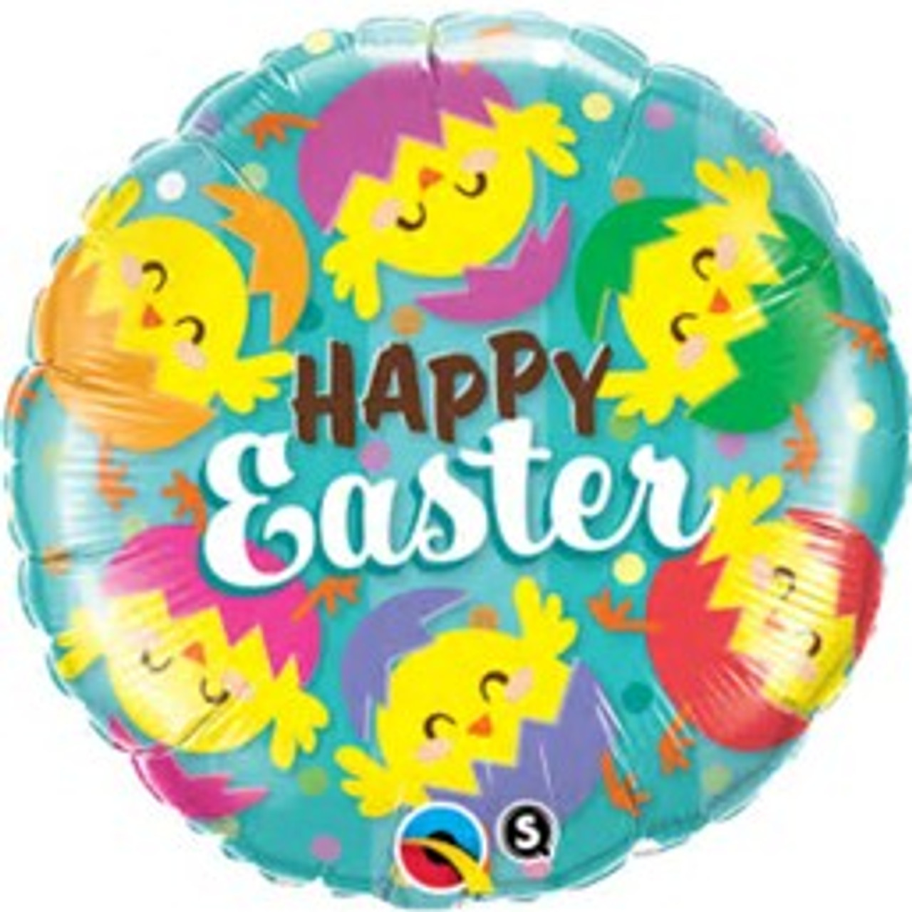 Happy Easter Chick in Colourful Egg Supershape Foil Balloon
