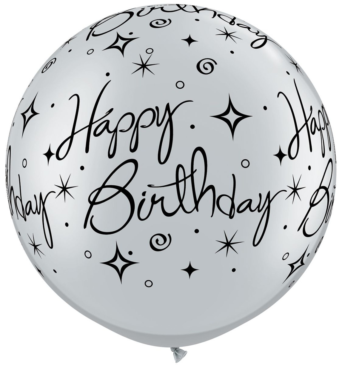 30 round Silver and Black Birthday Balloons. a