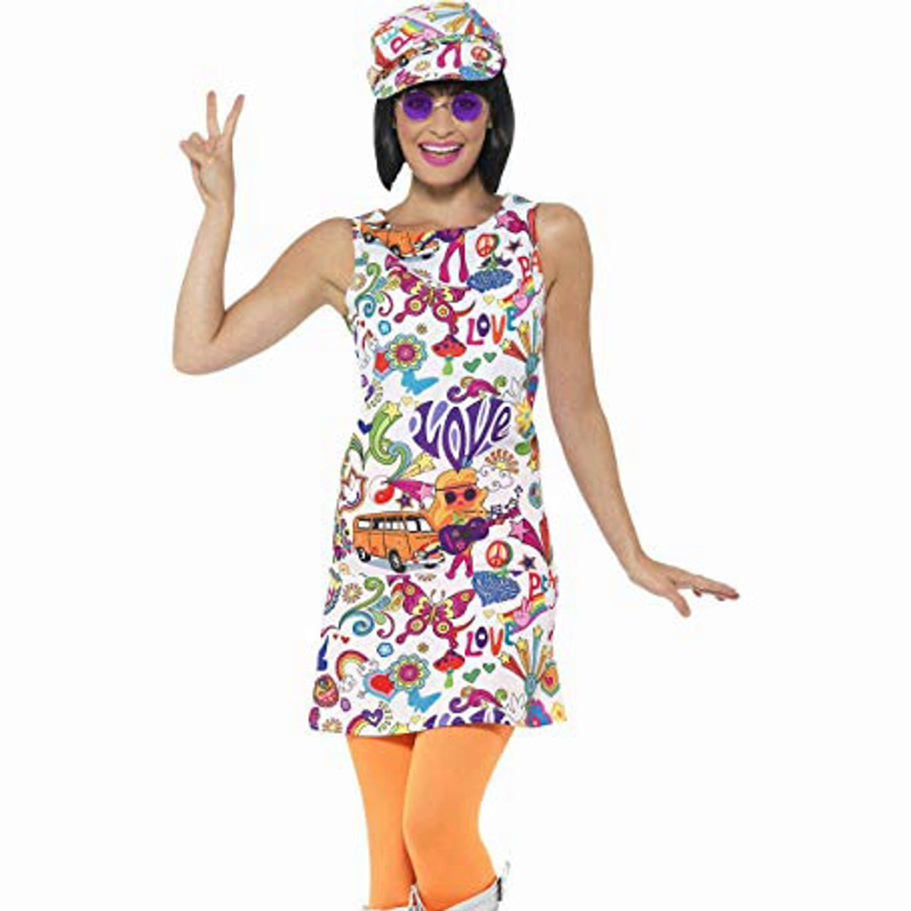 Ladies 60s Retro Go Go Girl Flower Print Costume for 60s Rock N Roll Fancy Dress