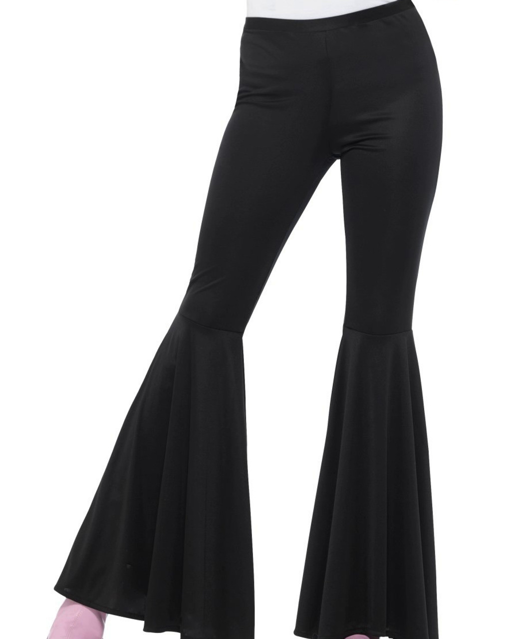 MENS BLACK 1970/'S DISCO TROUSERS PANTS FANCY DRESS COSTUME FLARES 70S 1960/'S 60S