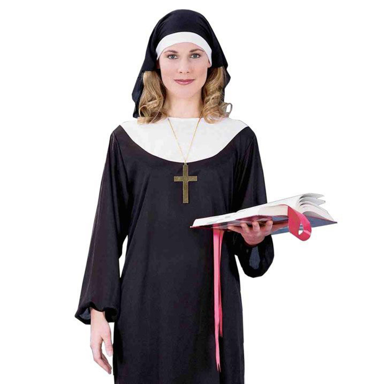 ONE SIZE FITS MOST NEW NUN SISTER RELIGIOUS WOMENS FANCY DRESS COSTUME