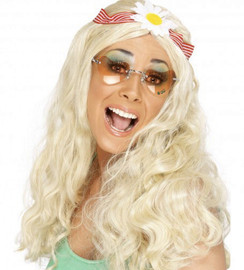 Smiffys Womens Hippy Party Wig Long with Coloured Beads
