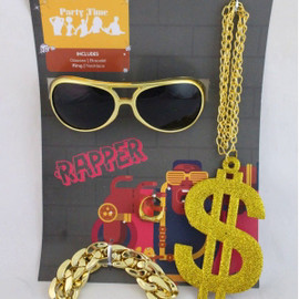 70s 80s 1980s Adjustable Fancy Dress Gem Jewel Ring Pimp Rapper New by Smiffys