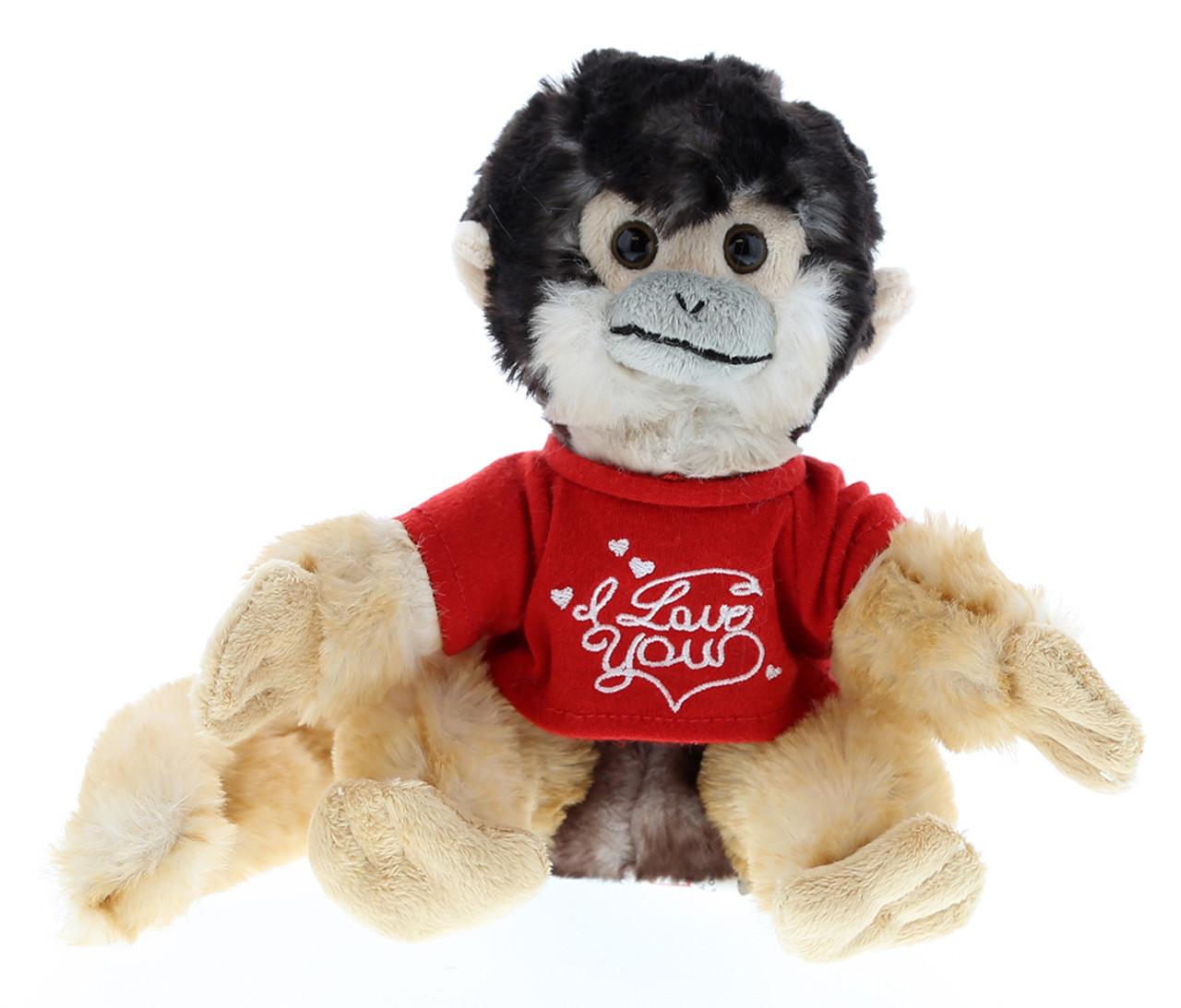 Dollibu Squirrel Monkey Red I Love You Shirt Valentines Plush Super