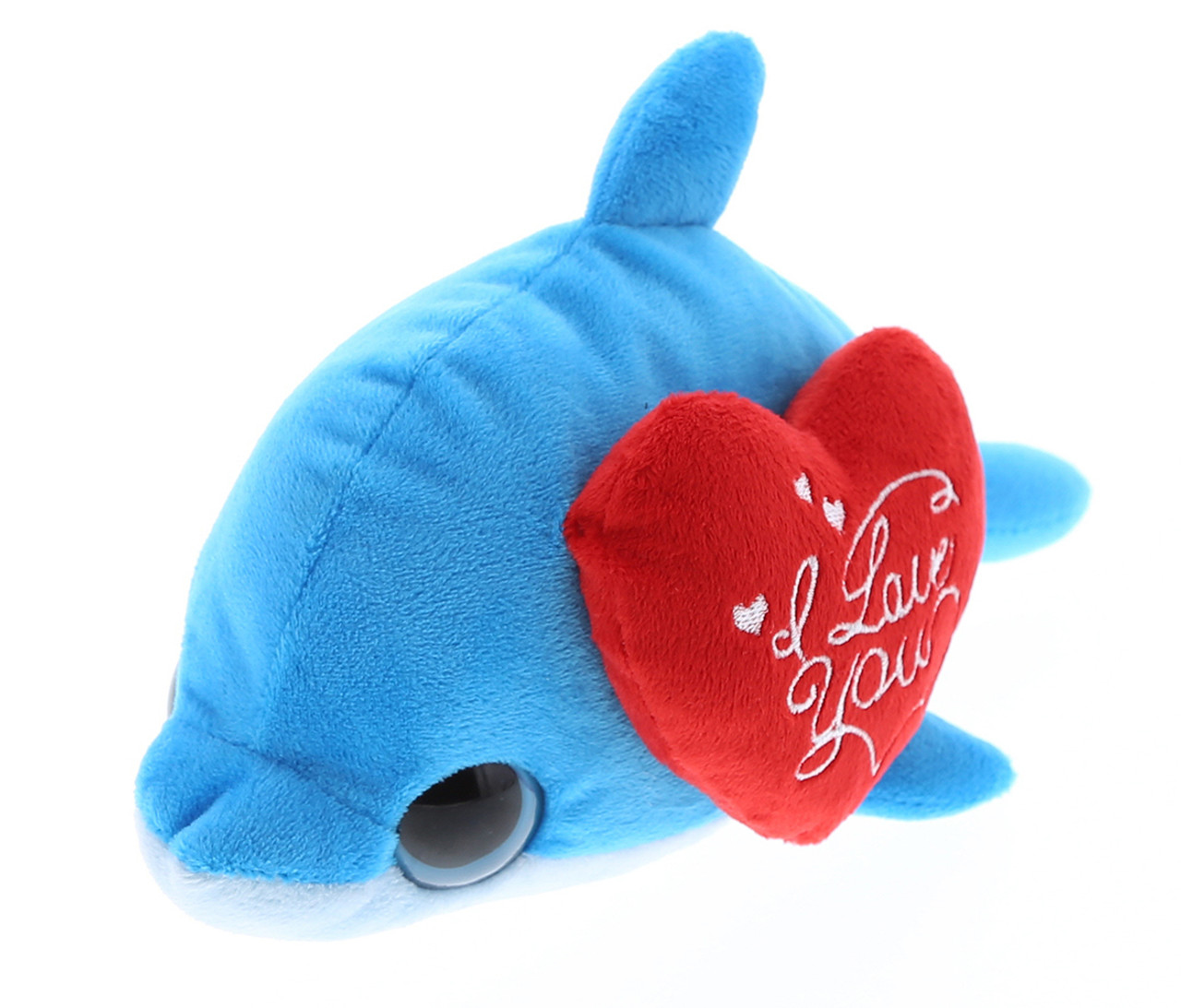 Dollibu Blue Dolphin Big Eye I Love You Valentines Plush Super Soft