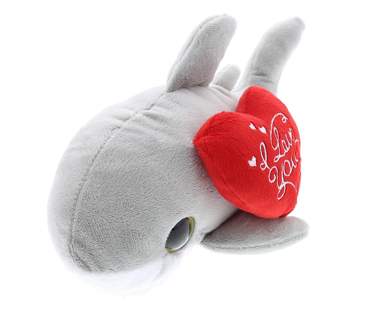 Dollibu Dollibu Large Grey Dolphin I Love You Valentines Plush Super Soft Plush