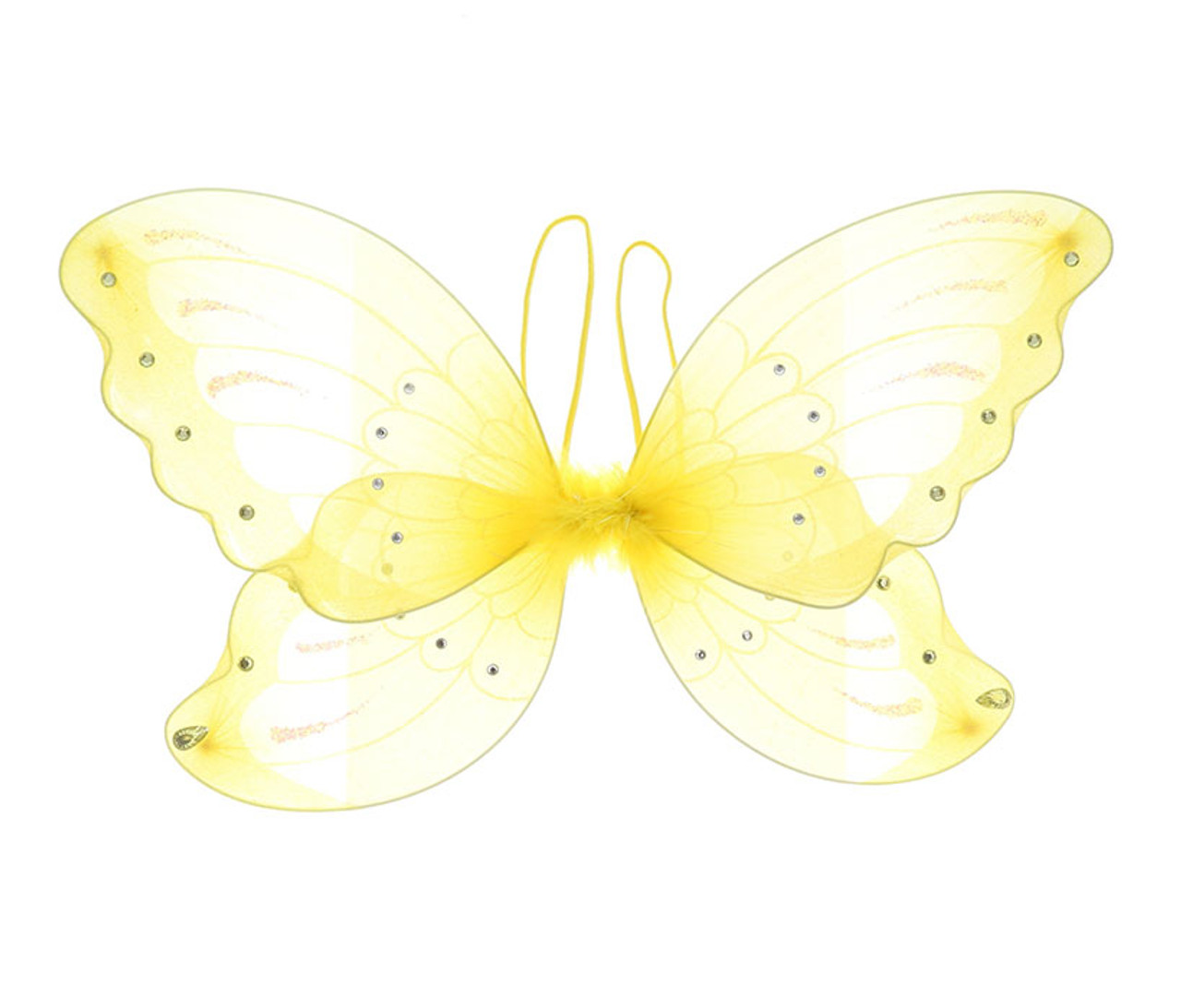 Yellow Glitter Children Butterfly Wings Costume Accessory