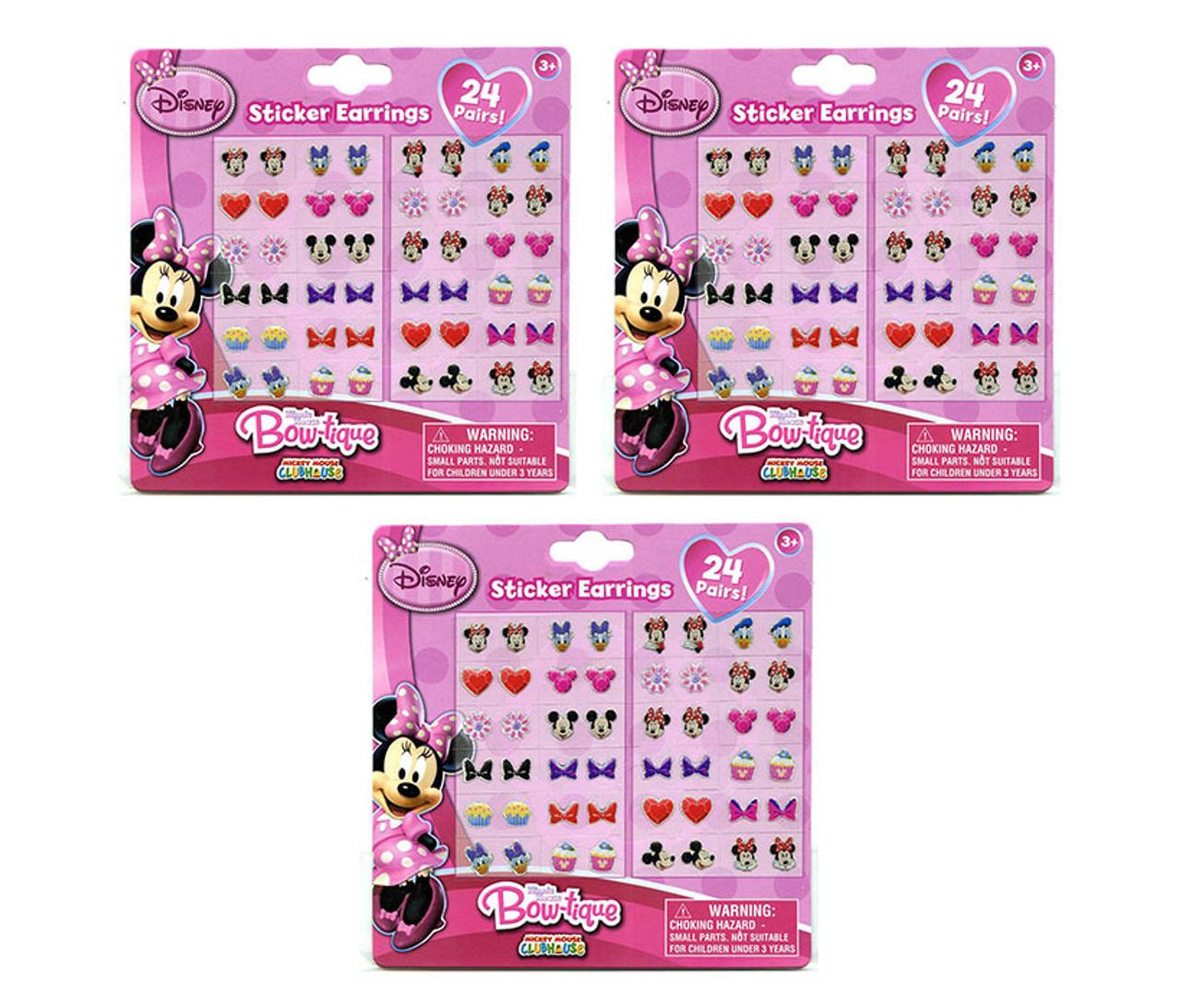 c4c181986 Disney Minnie Mouse Bowtique Sticker Earrings Set 3 Items Stick On Earrings