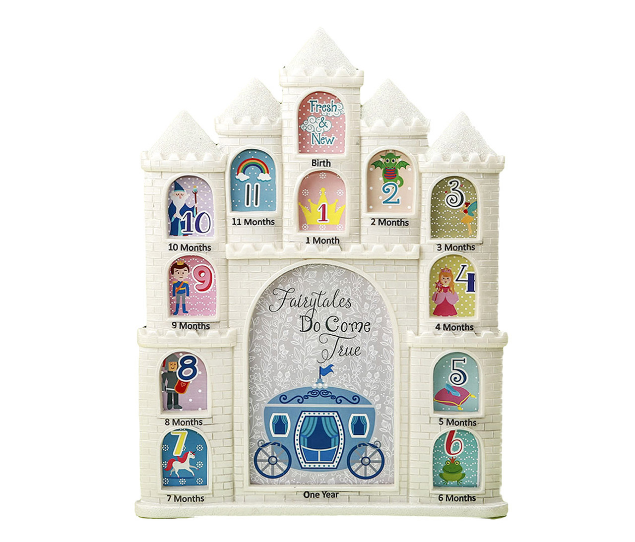 Nursery Decor Mozlly White Fairytales Do Come True Castle Baby First Year Collage Photo Frame