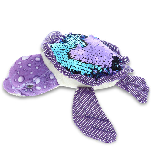 DolliBu Purple Sea Turtle Flip Sequin Plush 7.5 Inch, Flipping Reversible Sequins Huggable Stuffed Animal, Colorful Nautical-Theme Turtle Plush Toy Cute & Soft Ocean Stuffed Animals For Boys and Girl