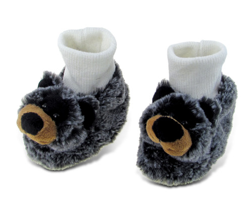 Super Soft Plush Baby Shoes Black Bear