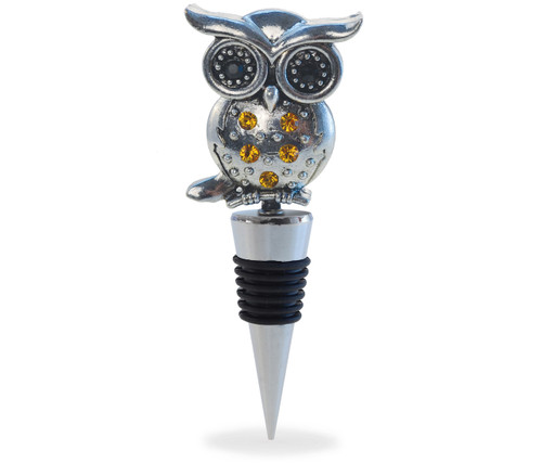 Cheers Wine Stopper Metal Owl