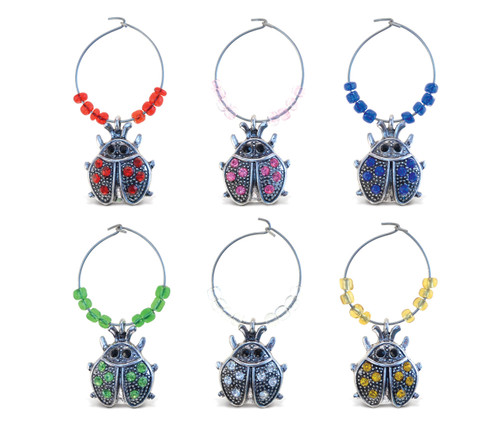 Cheers Wine Charms Metal Ladybug