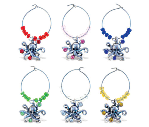 Cheers Wine Charms Metal Octopus