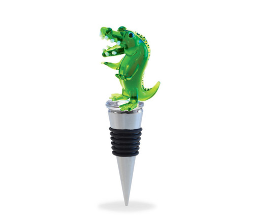 Glass Alligator Wine Stopper