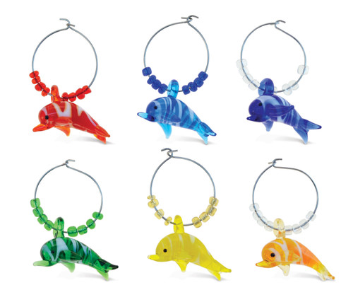 Cheers Wine Charms Glass Dolphin